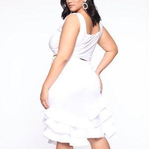 White midi scuba skirt